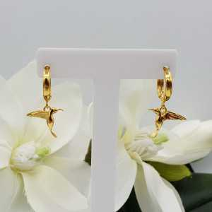 Gold-plated creoles with Hummingbird pendant