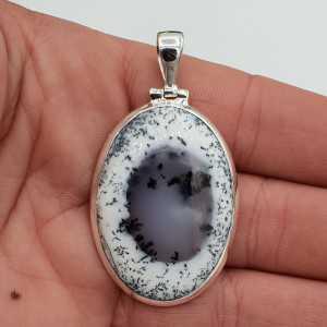 Zilveren edelsteenhanger met ovale Dendriet Opaal