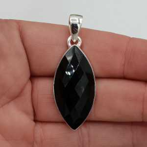 Zilveren hanger met marquise facet zwarte Onyx