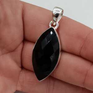 Silber Anhänger mit marquise facettierten schwarzen Onyx