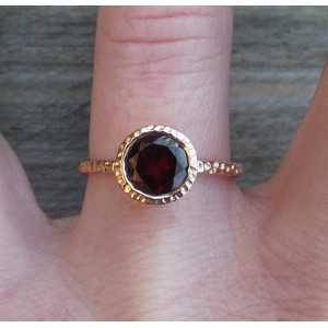 Gold-plated ring set with round Garnet 17.3 mm