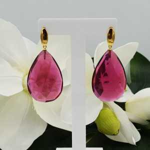 Goud vergulde oorbellen met grote roze Toermalijn quartz briolet