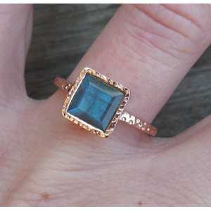 Gold-plated ring set with square Labradorite 17.3 mm
