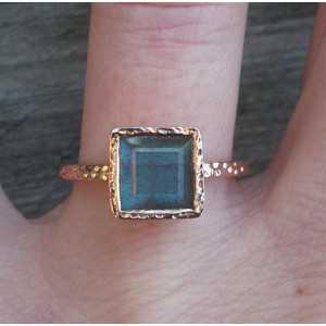 Gold-plated ring-set mit quadratischen Labradorit 17.3 mm
