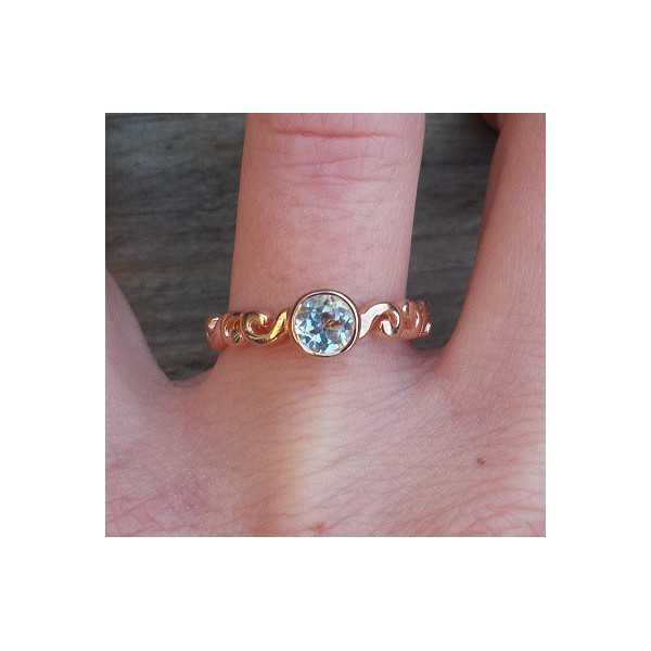 Gold-plated ring set with round blue Topaz 17.3 mm