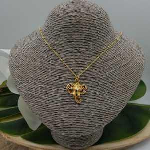 Vergoldete Halskette mit Elefanten Kopf Anhänger