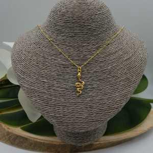 Goud vergulde ketting met slang hanger