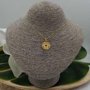Vergoldete Halskette mit Runden Mandala-Blumen-Anhänger