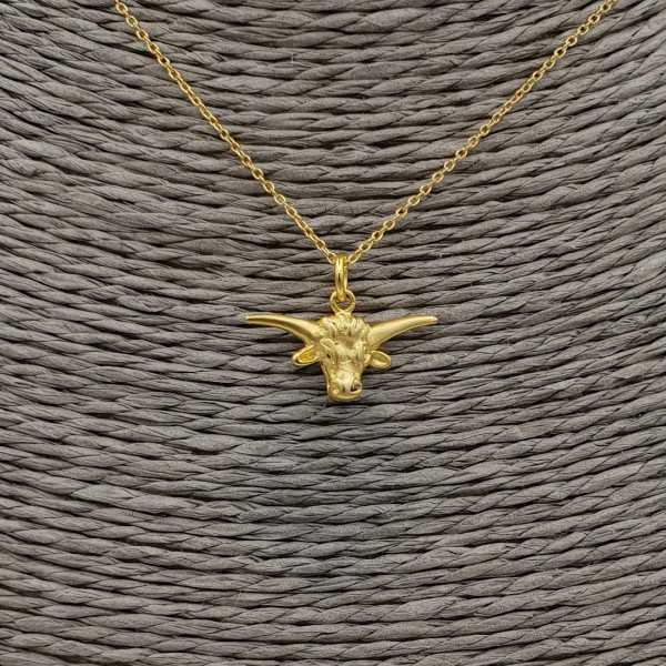 Gold überzog Halskette mit kleinem bulls head Anhänger