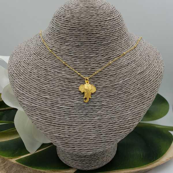 Vergoldete Halskette mit matt Ganesh Elefant Anhänger
