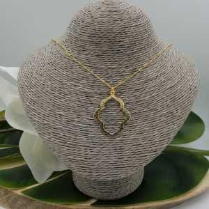 Goud vergulde ketting met brushed Marakesh hanger