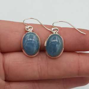 Zilveren oorbellen met ovale cabochon geslepen Aquamanrijn