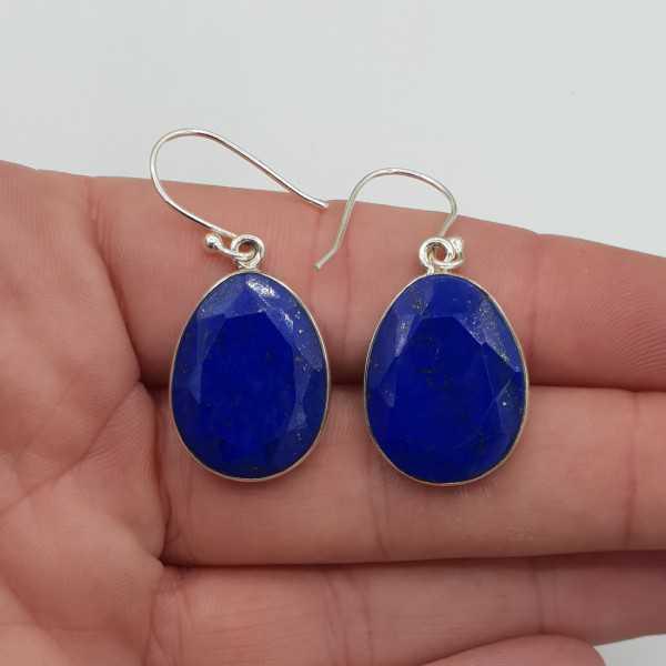 Silber Lapis Schneiden Lazuli Mit Facette Ohrringe rdoCWxBe