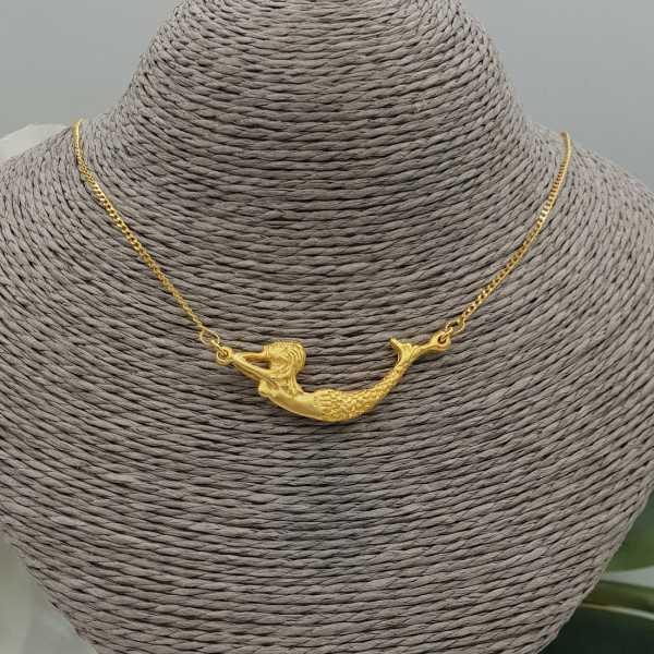 Vergoldete Halskette mit Meerjungfrau-Anhänger