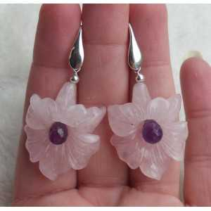 Silber Ohrringe mit Blüte aus Rosenquarz-und Amethyst-briolet