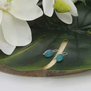 Silber Ohrringe mit ovalen Chalcedon und hasp