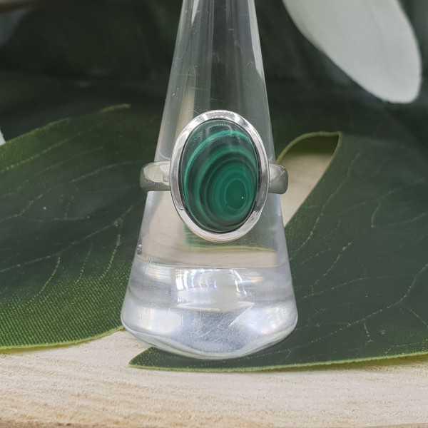 Zilveren ring gezet met Malachiet 18 mm