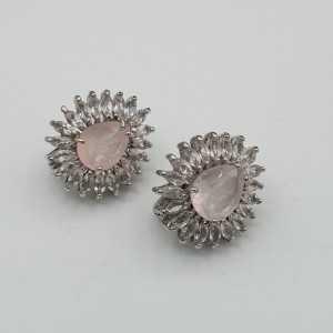 Silber Ohrringe-set mit Rosenquarz und weißen Topase