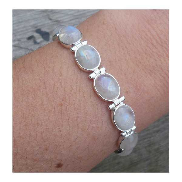 Silver bracelet with oval cabochon rainbow Moonstones