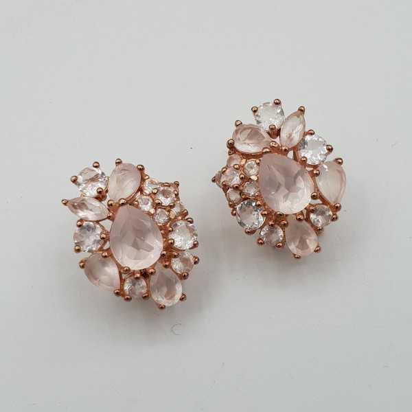 Rosé gold-Ohrringe-set mit Facette cut rose quartz