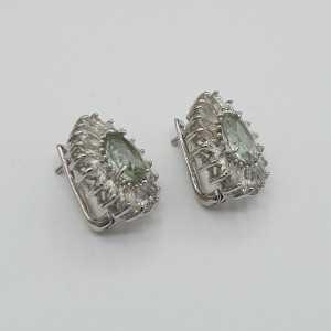 Silber Ohrringe-set mit green Amethyst und weisse Topase
