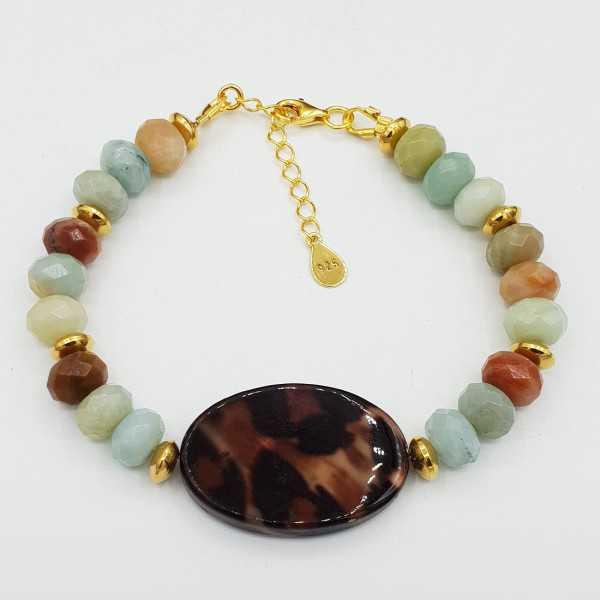 Goud vergulde armband met Amazoniet en schelp met Panter print