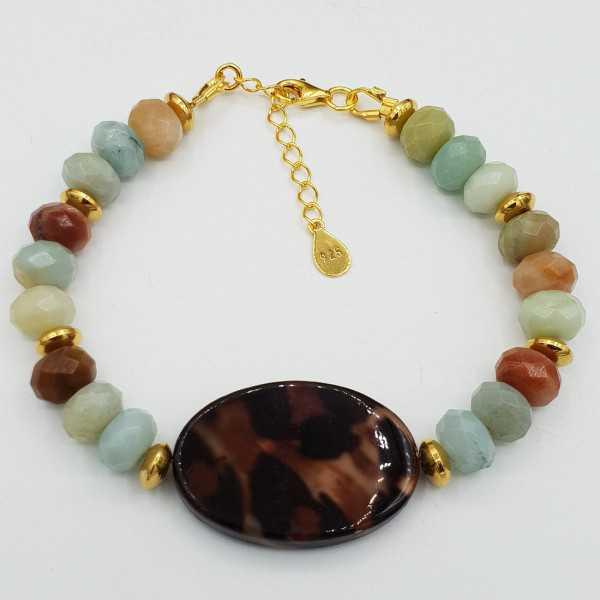 Vergoldete Armband mit Amazonit und shell mit Leoparden-print