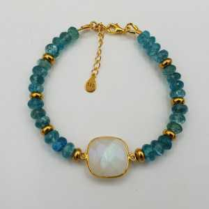 Gold plated bracelet with rainbow Moonstone and Apatite