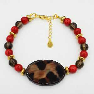Gold plated bracelet Coral Smokey Topaz and shell with Leopard print