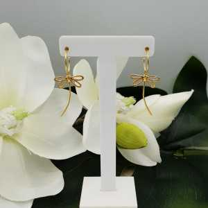 Gold plated half creoles with dragonflies pendant