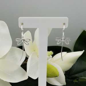 Silber halb-Kreolen mit Libellen-Anhänger