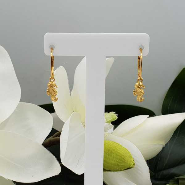 Gold plated earrings with seahorse pendant