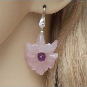 Silver earrings with flower of rose quartz and Amethyst briolet