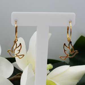 Vergoldete Ohrringe mit Anhänger Taube