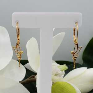 Goud vergulde oorbellen met elf hanger