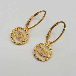 Vergoldete Ohrringe mit evil-eye-Anhänger