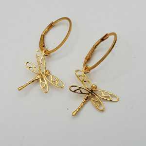Vergoldete Ohrringe mit Libellen-Anhänger