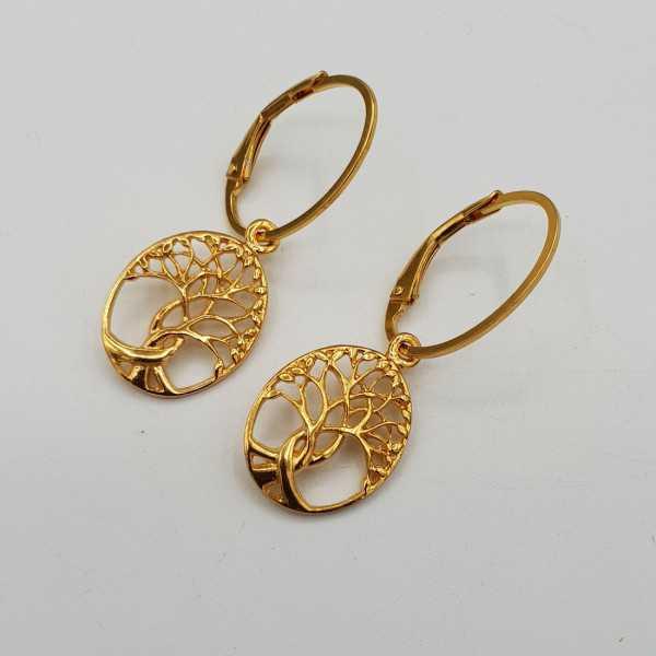 Vergoldete Ohrringe mit ovalen levenboom Anhänger