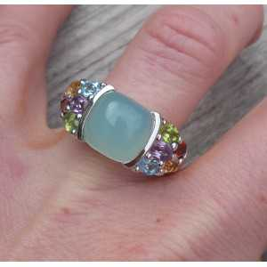 Silver ring set with Chalcedony and multi gemstones 17.5 mm