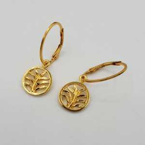 Vergoldete Ohrringe mit palm leaf pendant