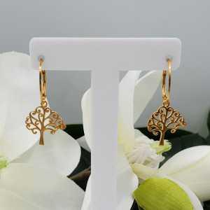 Vergoldete Ohrringe mit Baum des Lebens Anhänger