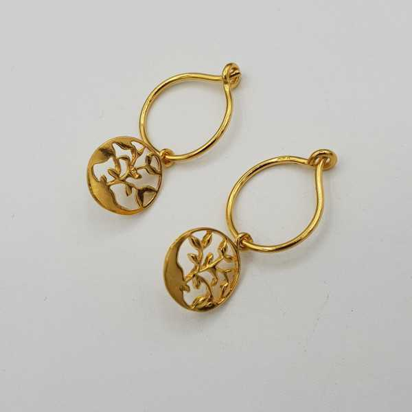 Vergoldete Ohrringe mit Runden Blatt-Anhänger