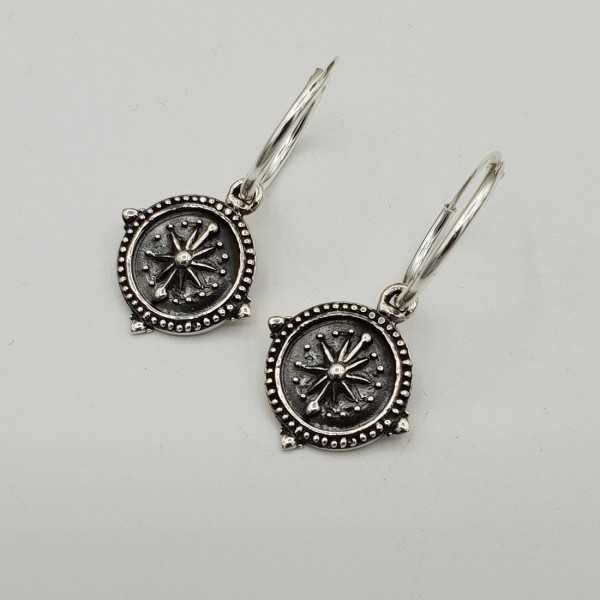Silber Kreolen mit Kompass-Anhänger