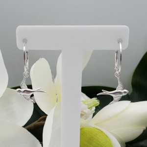 Silver earrings with swallow pendant