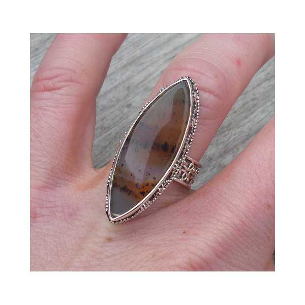 Silber-ring, Montana-Achat-set in einem geschnitzten Einstellung, 16,5 mm