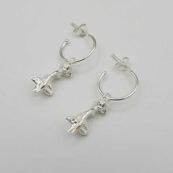 Silber halb-Kreolen mit Meerjungfrau-Anhänger