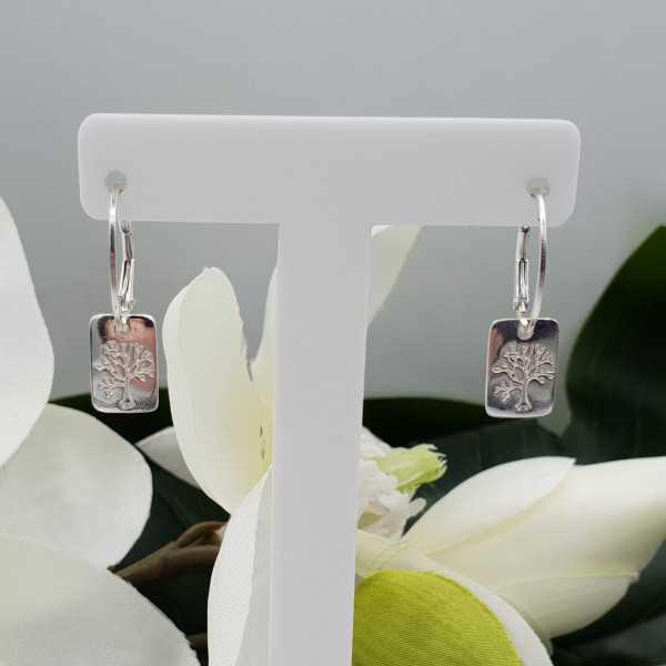 Silber Ohrringe mit rechteckigem Baum des Lebens Anhänger