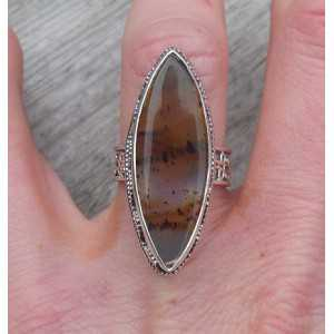 Silver ring Montana Agate set in a carved setting, 16.5 mm