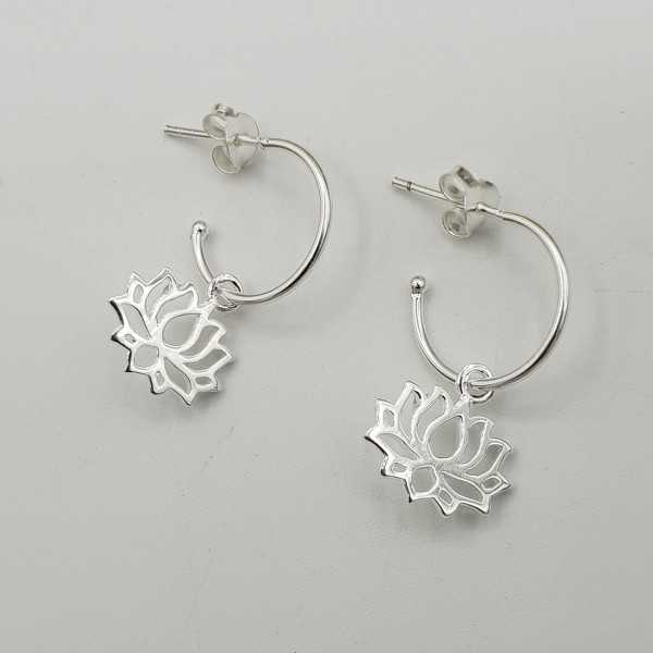 Silber halb-Kreolen mit Anhänger lotus