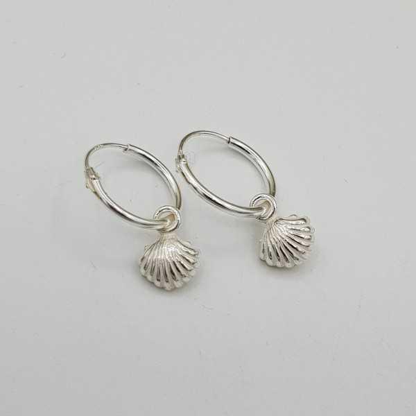 Silber Kreolen mit shell-Anhänger